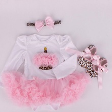 New Baby Girl Clothing Sets Christmas set Lace Tutu Romper Dress Jumpersuit+Headband+Shoes 3pcs Set Bebe First Birthday Costumes