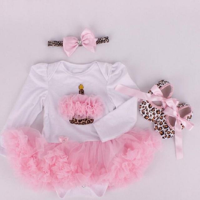 Novo Bebê Menina Conjuntos de Roupas de Natal set Lace Tutu Vestido Jumpersuit Romper + Headband + 3 pcs Set Bebe primeiro Aniversário Trajes