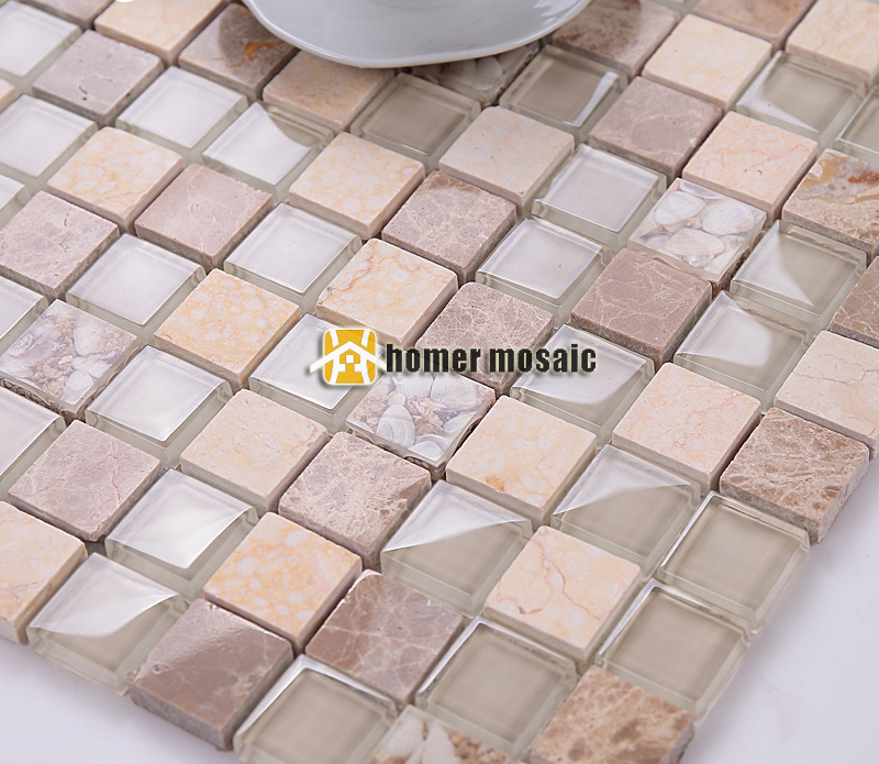 Vierkante clear glas gemengde beige kleur steen marmeren mozaïek ...
