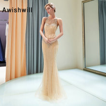 Awishwill Sexy Mermaid Prom Dresses Gold Color Floor Length