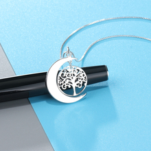 Moon Shape Tree Of Life Design Personalized Engrave Name Necklace