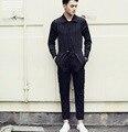 2016 Новый Конструктор Корейской Моды Комбинезоны Мужчин Повседневная Брюки Брюки Мужские Комбинезон Черный И Белый Полосатый Брюки