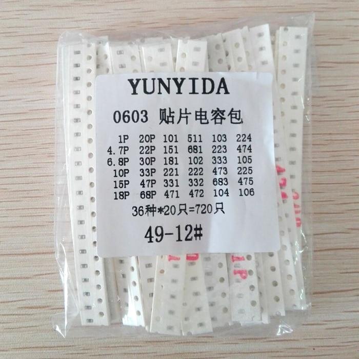 0603 SMD Capacitor Assorted Kit ,36values*20pcs=720pcs 1pF~10uF Samples Kit Electronic Diy Kit