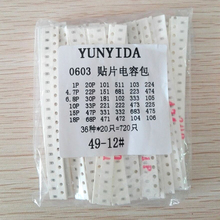 0603 SMD Capacitor assorted kit ,36values*20pcs=720pcs 1pF~10uF Samples Kit electronic diy kit  Free shipping 0603 smd capacitor sample book 90 values x 50pcs 4500pcs electronic components package samples kit drop shipping