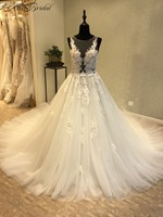 Vestido De Casamento New Long Wedding Dress 2018 Scoop Sleeveless Chapel Train A Line Ball Gown