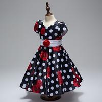 Wholesale High Quality Print Rose Girls Short Summer Dress Cotton Girls Causal Dress First Communion Dress