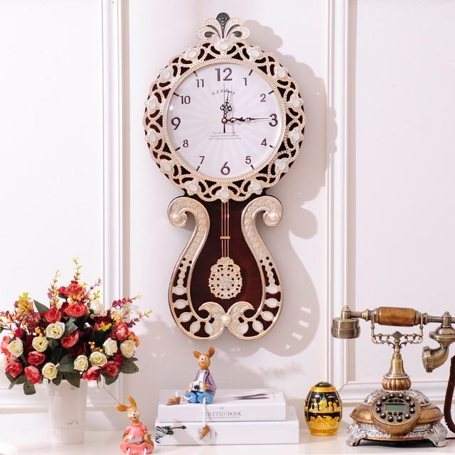 European Modern Style Living Room Decorative Large Wall Clock Pendulum Creative Fashion Art Watch Retro