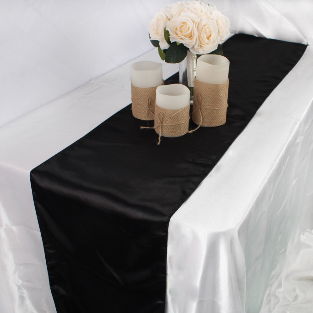 Image 2 - OurWarm 30cm*275cm Wedding Table Runner Satin Table Runners Table Decoration For Home Party Wedding Event Favors Banquet Decor-in Table Runners from Home & Garden