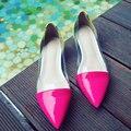 Плоские Туфли Женщина Натуральная Кожа И ПВХ Дамы Балетки Элегантные Обувь Острым Носом Женщины Поскользнуться На Квартиры