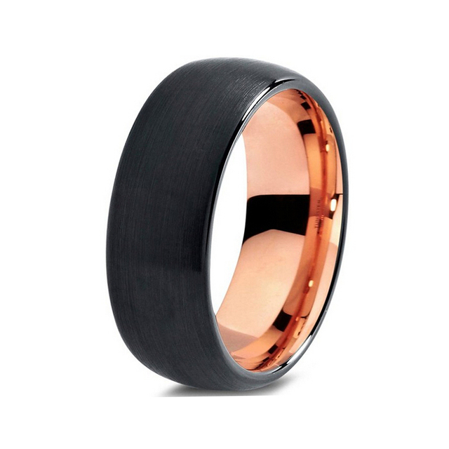 Very Por Dome Band Tungsten Wedding Ring With Black Brush Outside And Rose Gold Color Inside