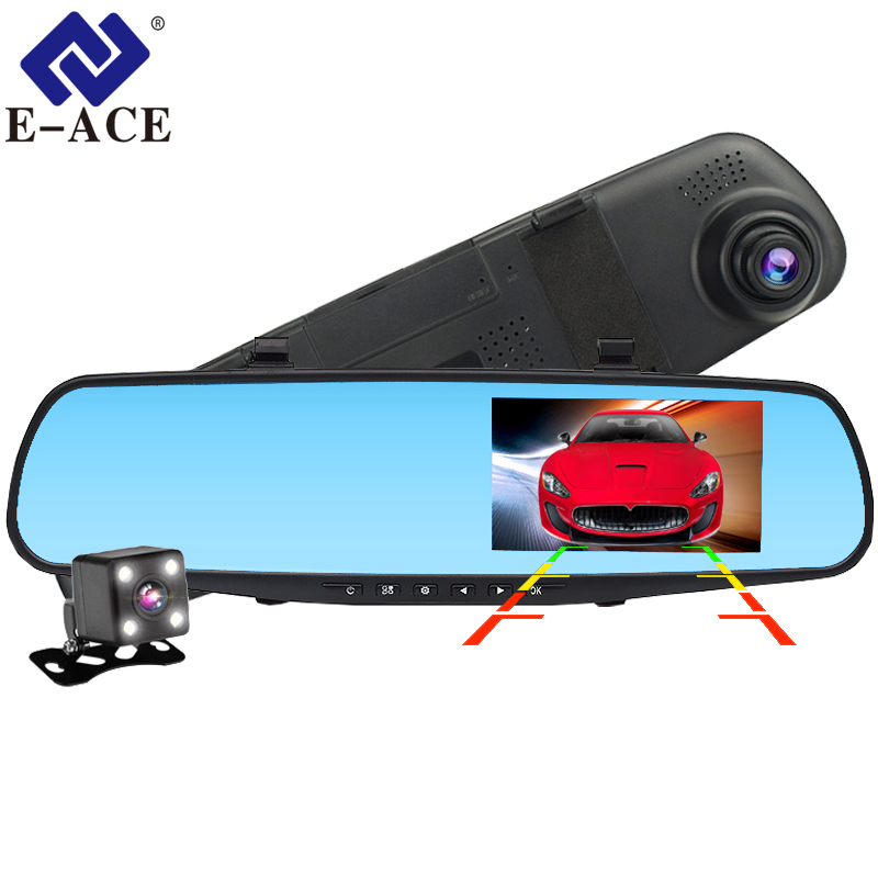 E-ACE Dvr Dash Camera Auto Dvr spiegel FHD 1080 p 4.3 inch Dual Lens Met Achteruitrijcamera Auto Video recorder Registratory