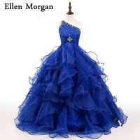 Royal Blue Girls Pageant Dresses for Beauty Little Kids Princess Organza Beading Stones Puffy Ball Gowns Flowers Graduation