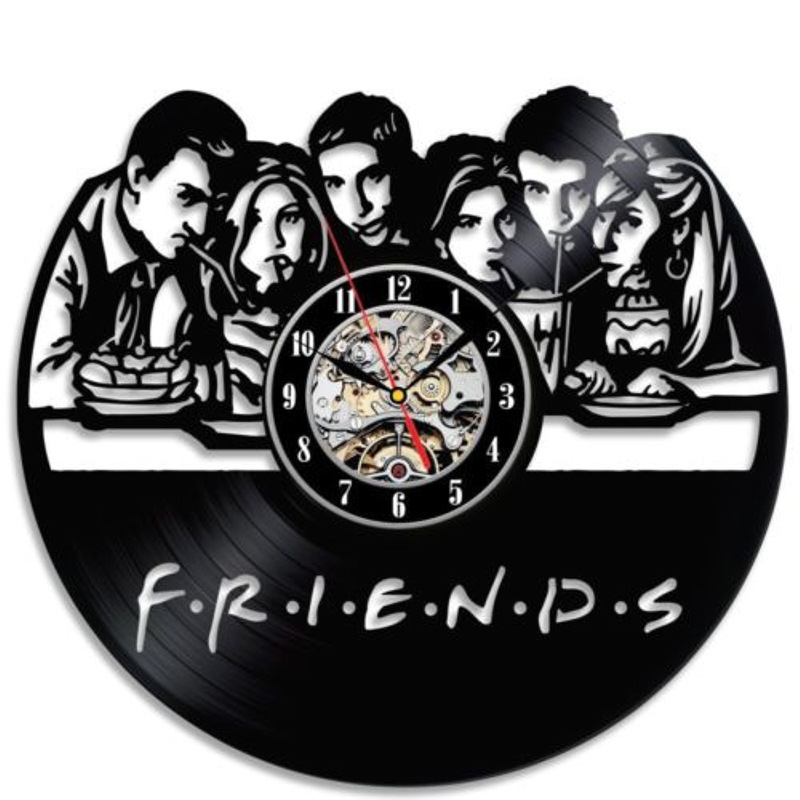 2019 Time limited New Wall Clock Klok Free Shipping 3 d Friends Record Clock Hollow Vinyl Wall Antique Wind Family Decoration