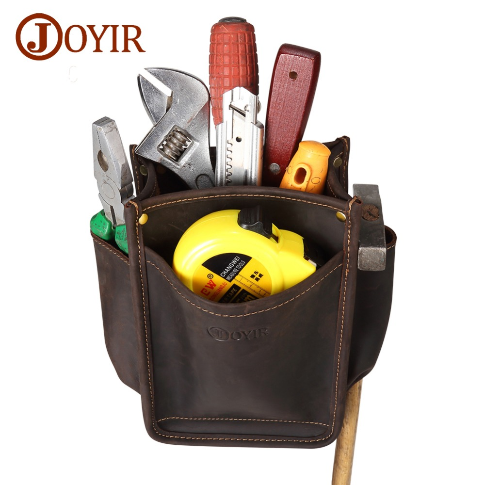 JOYIR Durable Hardware Tool Bag Genuine Leather Pocket Electrician DIY Working Tool Pouch Bag Waist Belt Screwdriver Pliers Bag цена