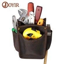 Купить с кэшбэком JOYIR Durable Hardware Tool Bag Genuine Leather Pocket Electrician DIY Working Tool Pouch Bag Waist Belt Screwdriver Pliers Bag