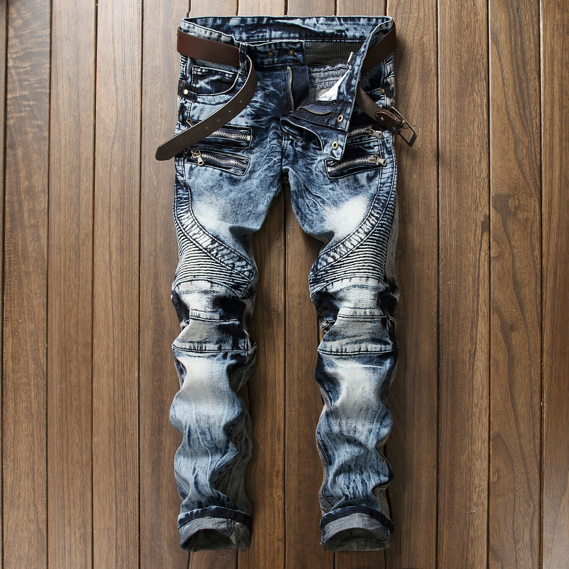 24cd51b2 High Quality Ripped Jeans Men Fashion Patchwork Moto Jeans 2017 New ...