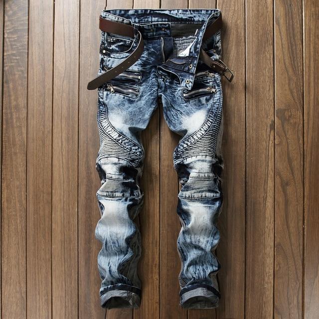 High Quality Ripped Jeans Men Fashion Patchwork Moto Jeans 2017 New Mens Pants Slim Fit Jeans Brand Men Biker Denim Jean men