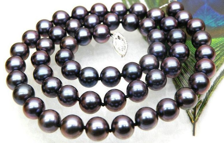 gorgeous tahitian 9-10mm round black red pearl necklace 18inch 925 silver hot sale new style genuine 9 10mm tahitian black pearl necklace 18inch