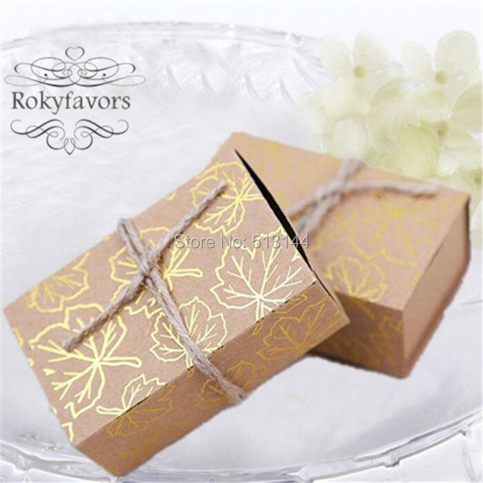 Free Shipping 50pcs Fall Autumn Kraft Gold Maple Leaf Favor Boxes