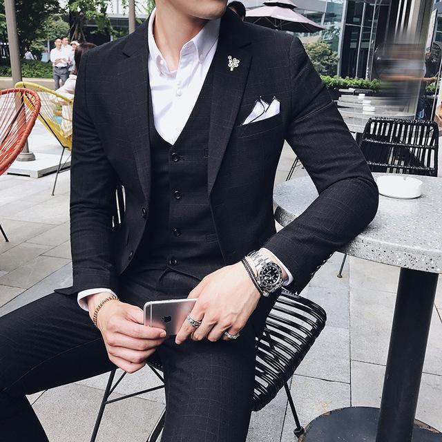 Men's Formal Wearl Suits Wedding dress Suit Jackets+Vest+Pants High Quality Men Smart Casual Slim Suits Blazer 3 Pieces