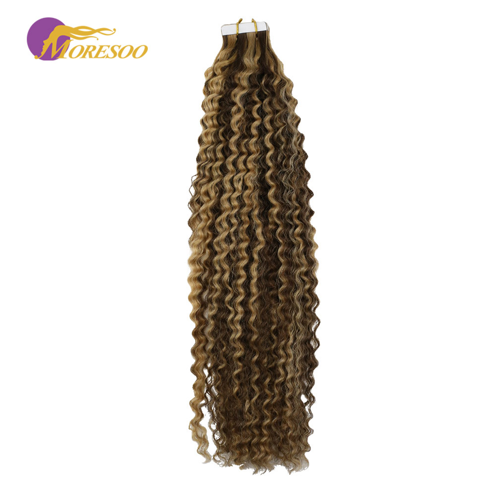 Moresoo Tape In Remy Hair Extensions Kinky Curly Highlight Color Brown #4 With Blonde #27 Seamless Skin Weft Hair Extensions 50G