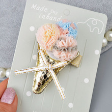 Lovely Girls Hairpins Ice-cream  Children Bowknot Chiffon Hair Clips Pompom Barrettes Flowers A308