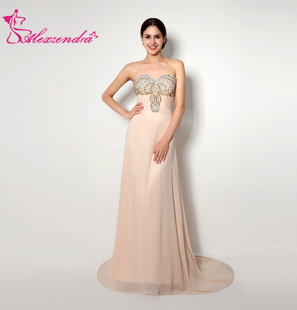 Alexzendra Beaded Bodice Sweetheart Long Chiffon Pink   Prom     Dresses   Evening   Dresses   Plus Size Party Women Gown