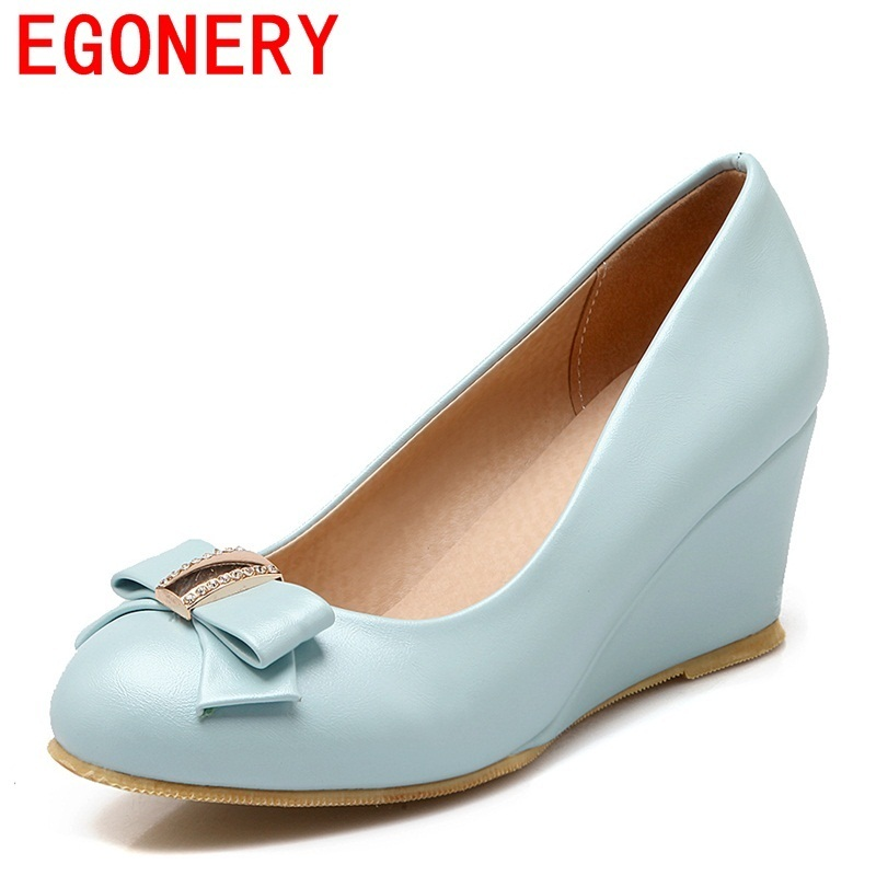 egonery 2018 women pumps ladies shoes new style round toe 7 cm high heel bowties shoes casual slip on concise spring autumn pump egonery shoes 2017 spring and autumn concise wedges butterfly knot pumps simple lace up sweet round toe women fashion high heels