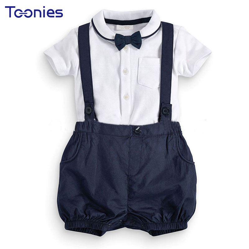 Newborn Baby Boys Clothes Set Summer Short Sleeves Gentleman Suits 2 Pcs Infant Baby Casual Bow Tie Strapped Clothing Set YY1673