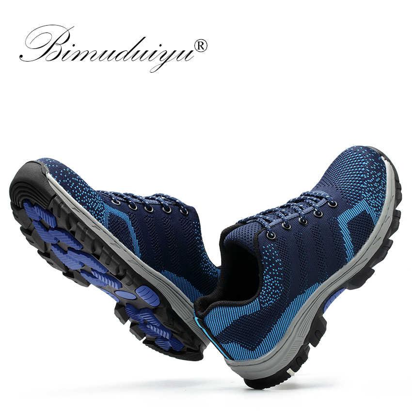 BIMUDUIYU Для Мужчин's Обувь с дышащей сеткой Сталь носок Кепки рабочие защитные ботинки обувь анти-скольжения не прокалываются, подносок, стальная Антипрокольная стелька Для мужчин повседневная обувь