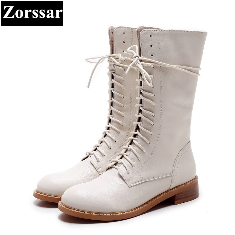{Zorssar} 2018 NEW Fashion Women Knight Boots Flat heel Mid-Calf boots Leisure flats womens Motorcycle boots winter female shoes stylish women s mid calf boots with solid color and fringe design