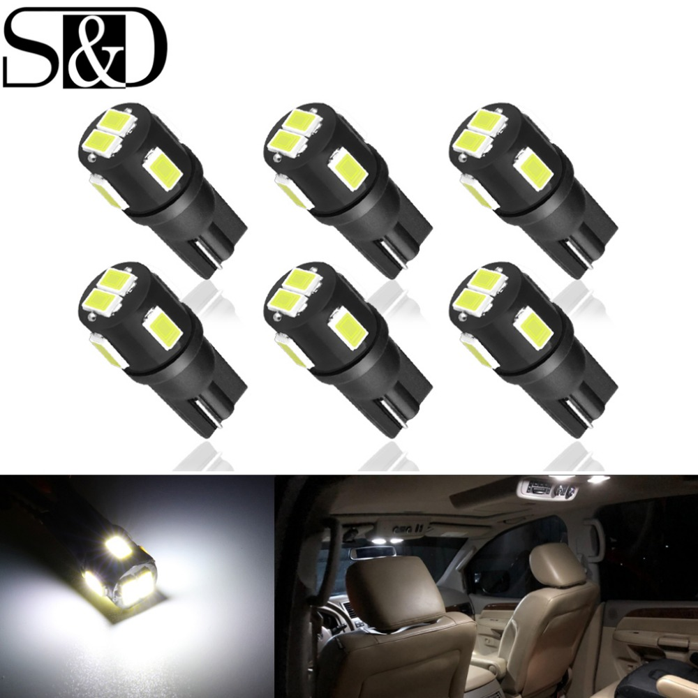 S&D 6pcs T10 LED W5W LED Bulbs Car Light 194 168 Clearance Reading License Plate Lamp Interior Dome Lights 12V 6000k 5w5 Auto 1x t10 led bulb w5w car drl 194 168 clearance lights reading interior replacement license plate lamp 12v 6000k white car styling