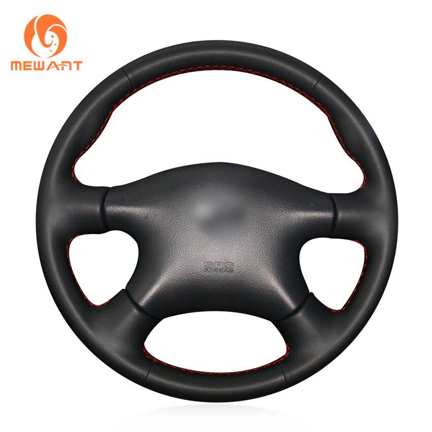 MEWANT Black Genuine Leather Steering Wheel Cover for Nissan Almera N16 Pathfinder Primera XTrail 2001-2006 Renault Samsung SM3