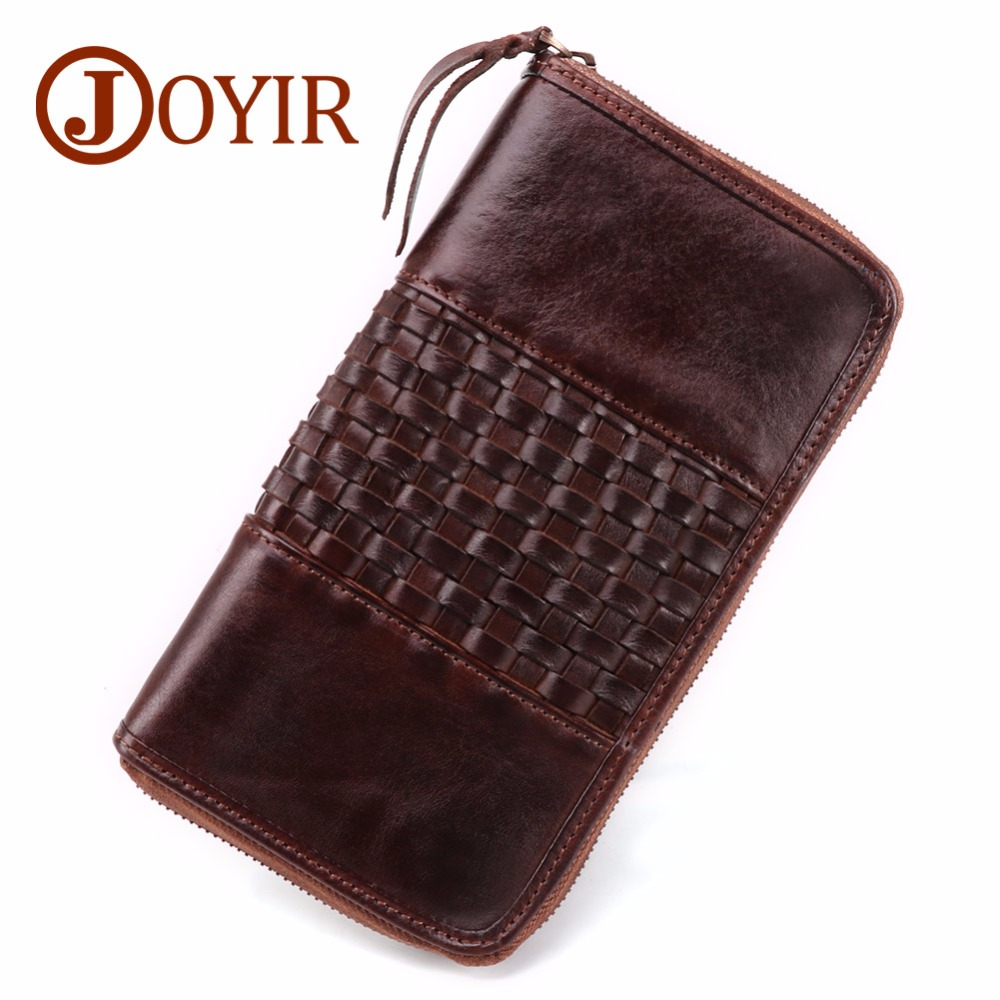 JOYIR Luxury Wallet Men Genuine Leather Long Wallet Clutch Male Zipper Vintage Large Wallet Purse Phone Bag Carteira Masculina joyir men wallet genuine leather wallet luxury long clutch bags men leather walle purse business handy bag carteira masculina