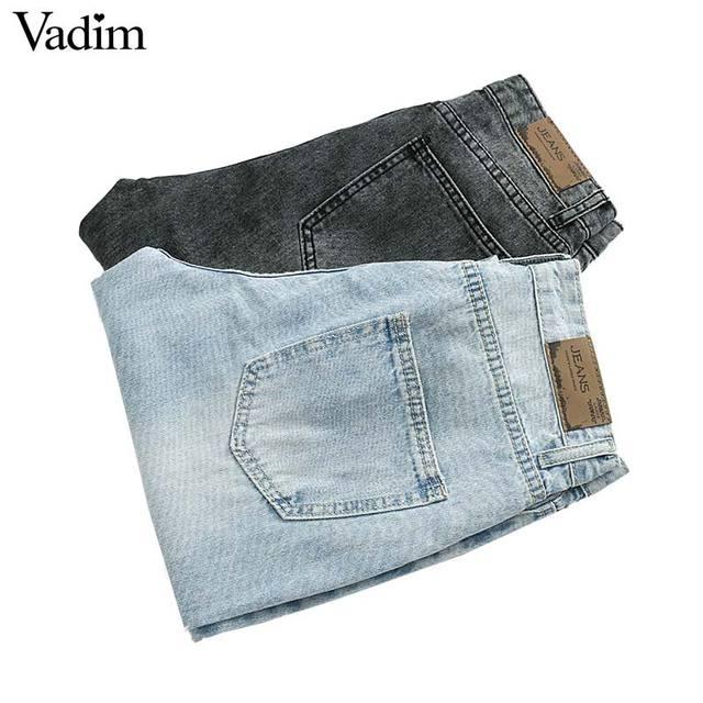 Vadim נשים בציר ישר ג 'ינס ג' ינס רוכסן לטוס כיסי חורים נקבה מקרית קרסול אורך מכנסיים רטרו pantalones KA745