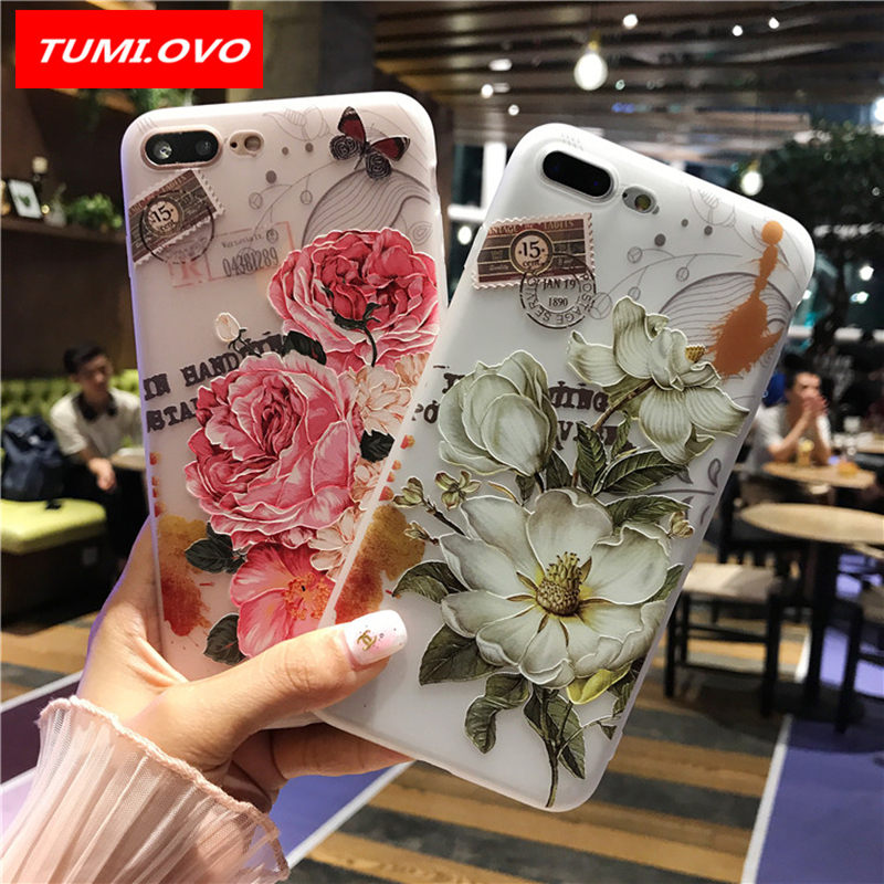 TUMI.OvO 3D Flower Patterned Case For iPhone 6 6s 7 8 Plus