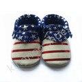 Bandera americana impresa bebé mocasín, zapatos de gamuza de cuero zapatos de bebé