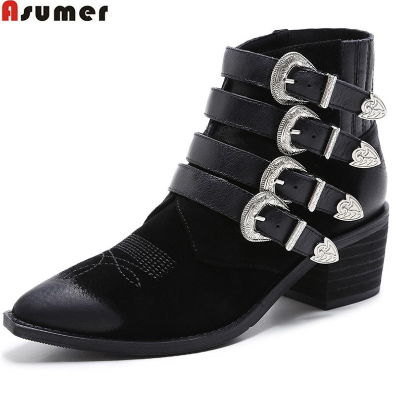 ASUMER 2018 hot sale new arrive women boots pointed toe genuine leather ladies boots black square heel buckle ankle boots