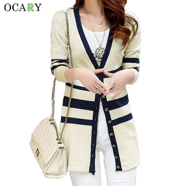 Elegant Women Sweaters Spring Summer Thin Cardigan Knitted Long Cardigans  Cotton Blusas Feminina Haut Ete Striped Chemise a6064e325