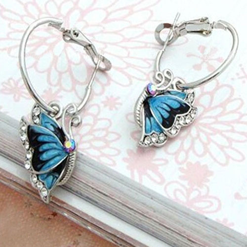 24 Pairs 2016 New ArrivalFashion Women 1Pair Blue Crystal Rhinestone Enamel Butterfly Dangle Earbob