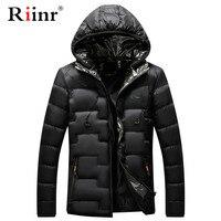 Riinr Men Hooded Casual Warm Parka Jacket Winter Cotton Parka Waterproof Windproof Slim Fit Coat Male Parka Brand Coats