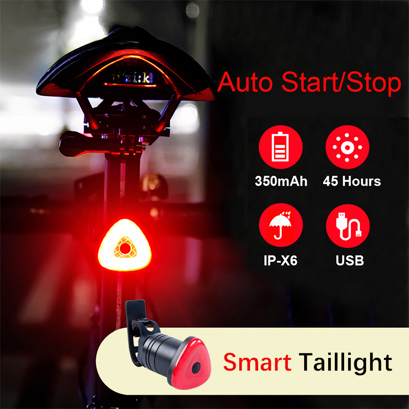 AGEKUSL Cycling MTB Bike Bicycle Intelligent Taillight Rear LED Light Lamp Auto Start/Stop Brake Sensing IPX6 Waterproof Light