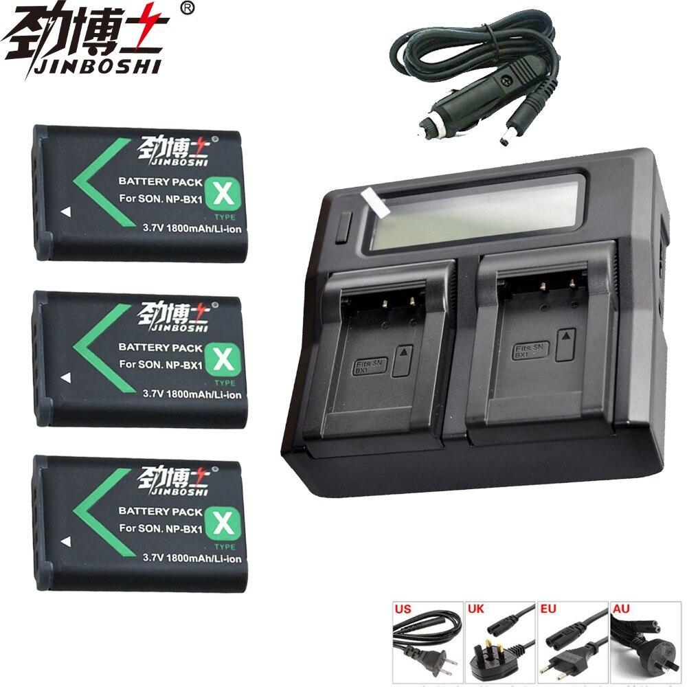 3 pièces NP-BX1 NP BX1 NPBX1 Batterie + LCD Double Chargeur Pour SONY DSC RX1 RX100 RX100iii M3 M2 WX300 HX300 HX400 HX50 HX60 GWP88