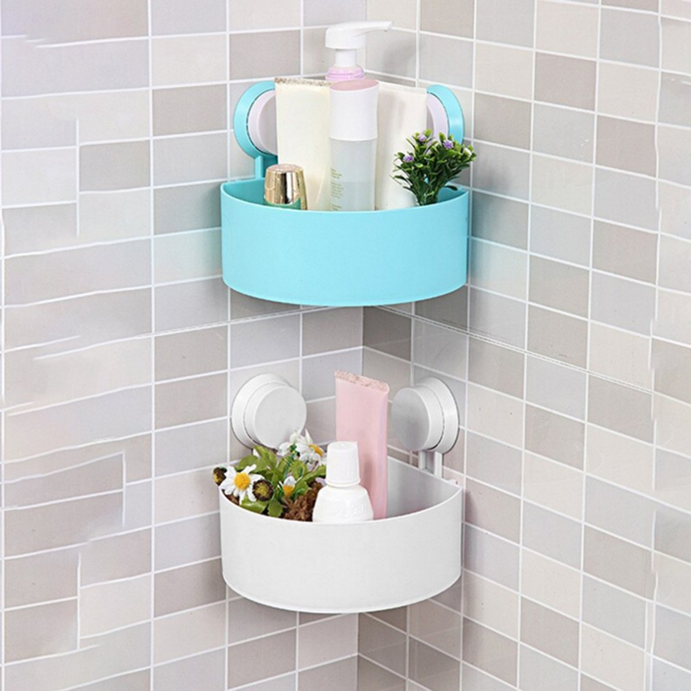 Strong Vacuum Suction Cup Corner Mounted Storage Shelf