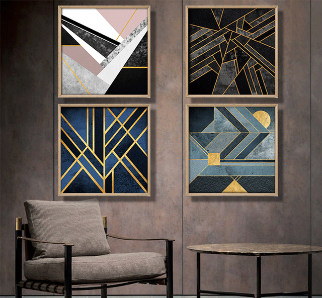 US $10 5 |Nordic geometric abstract canvas painting blue color gold thread  Home Decor On Canvas Modern Wall Prints art work no frame-in Painting &