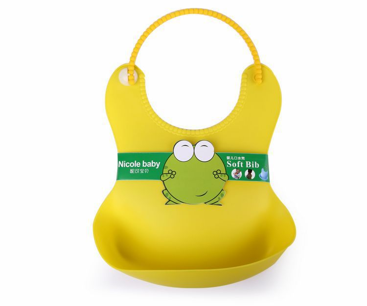 Baby Bib waterproof pocket Baby Bib Silica Gel stereo plastic disposable bib soft rice bag leak