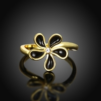 Fashion Floral Style Jewelry Yellow Gold Ring Size 7 8 LKN18KRGPR719 Wholesale Women Rings Lovely Girls