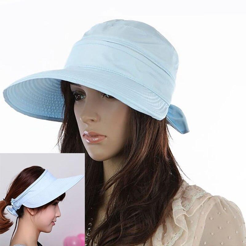 eefc61dc8 US $3.79 20% OFF|New Women Wide Brim Sun Hat Summer Double Use UV  Protection Visor Hat Detachable Empty Top Caps Girls Outdoor Beach Flat Top  Cap-in ...