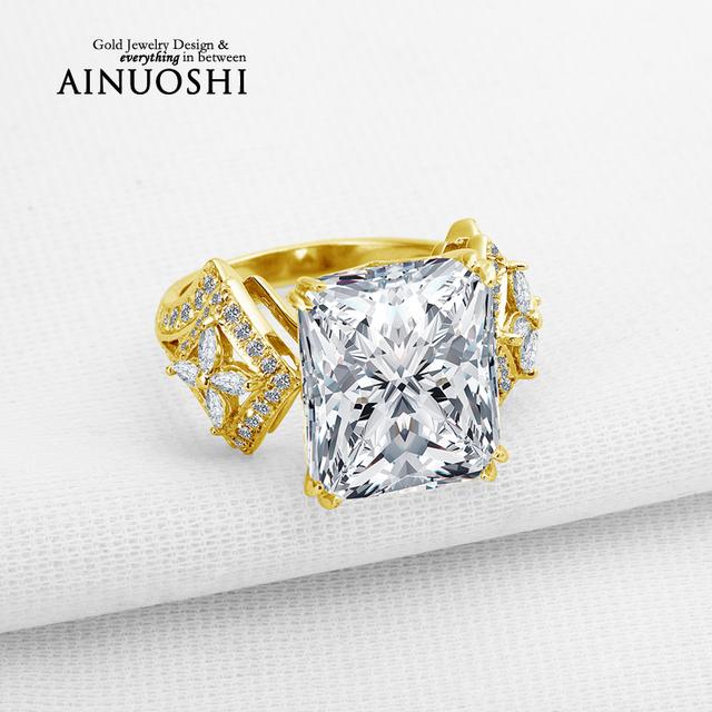 Ainuoshi 10 k sólido oro amarillo anillo de bodas diseño rectángulo cut diamante simulado joyería de lujo 6 quilates de las mujeres anillos de compromiso