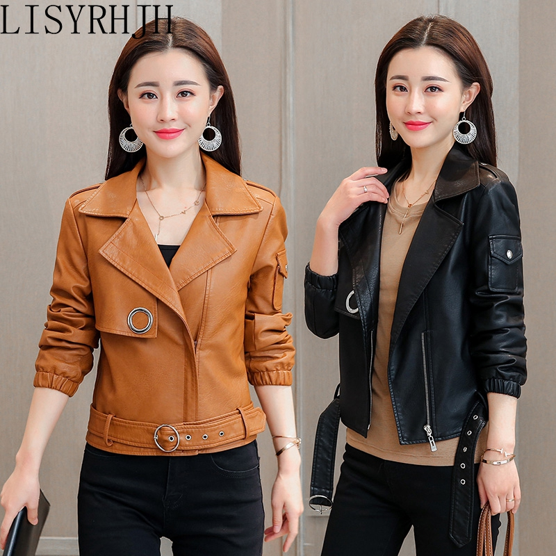 Leather   women's spring and autumn short   leather   jacket new handsome fashion slim washed   leather   motorcycle coat